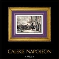 Napoleon i Paris - Napoleon Kommer Tillbaka från den Elba ön | Original stålstick graverade av B. Leubner. 1840