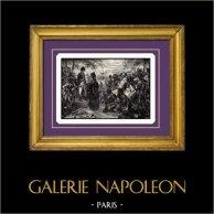 Napoleonkrigen - Egypten - Egyptierna frågar Förlåtelse från Kejsaren Napoleon | Original stålstick graverade av B. Leubner. 1840