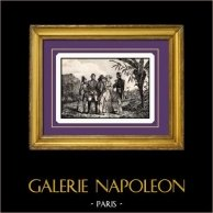 Napoleon Besöker Kolonierna av Imperium | Original stålstick graverade av B. Leubner. 1840