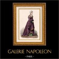 Italienische Tracht und Kleidung - Kostüme - Italienische Mode - Italien - Florenz - Florentinerin - Adelfrau (15. Jahrhundert - XV Jahrhundert)