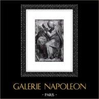Cappella Sistina - Sibilla Persica (Michelangelo) | Incisione heliogravure originale su carta Helio Rex. Anonima. 1930