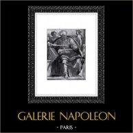 Cappella Sistina - Antico Testamento - Gioele (Michelangelo) | Incisione heliogravure originale su carta Helio Rex. Anonima. 1930