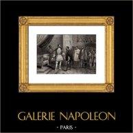Entrevue de François Ier et Charles Quint à Paris en 1540   Gravure sur acier originale dessinée par Henry Emy, gravée par Rebel. 1850