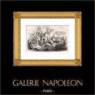 Monarchie de Juillet - Insurrection Républicaine à Paris (5 et 6 Juin 1832) | Gravure sur bois originale dessinée par Breval, gravée par E. Frère. 1870