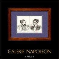Maréchal d'Empire et Général de Napoléon - Ibrahim Pacha - Constantin Canaris | Gravure sur cuivre originale. Anonyme. 1820