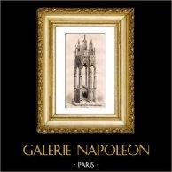 Tombeau du Cardinal Arnaud de Via - Villeneuve lez Avignon (France)    | Gravure sur acier originale dessinée par Guillaumot, gravée par Lemaitre. 1845