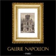 Monuments Historiques de Paris - L'église Saint Gervais (Saint-Gervais-Saint-Protais) | Gravure sur acier originale gravée par Lemaitre. 1845