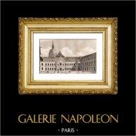 Monumente di Parigi - Hôtel des Invalides  | Incisione su acciaio originale incisa da Lemaitre. 1845