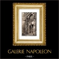 Histoire et Monuments de Paris - Eglise Saint Eustache (au 16ème Siècle) | Gravure sur acier originale dessinée par Gaucherel, gravée par Lemaitre. 1845
