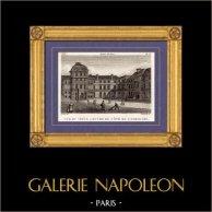 Vue de Paris - Vieux Louvre du Coté du Carrousel   Gravure sur cuivre originale dessinée par Christophe Civeton, Couché fils direxit. 1825