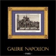 Vue de Paris - Eglise Saint Germain l'Auxerrois | Gravure sur cuivre originale dessinée par Christophe Civeton, Couché fils direxit. 1825