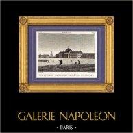 Vue de Paris - Champ-de-Mars - Ecole Militaire | Gravure sur cuivre originale dessinée par Christophe Civeton, Couché fils direxit. 1825