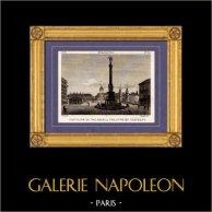 Vista di Parigi - Fonte, Sorgente - Place du Châtelet - Fontaine du Palmier | Incisione su rame originale disegnata da Christophe Civeton, Couché fils direxit. 1825