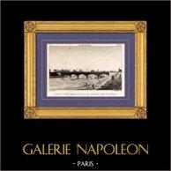 Vue de Paris - Seine - Pont d'Austerlitz - Jardin des Plantes | Gravure sur cuivre originale dessinée par Christophe Civeton, Couché fils direxit. 1825