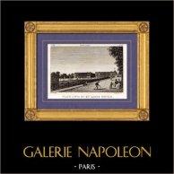 Vue de Paris - Place Louis XV - Place de la Concorde | Gravure sur cuivre originale dessinée par Christophe Civeton, Couché fils direxit. 1825