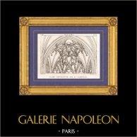 Vue de Paris - Eglise Saint-Gervais-Saint-Protais - Clef Pendante | Gravure sur cuivre originale dessinée par Christophe Civeton, Couché fils direxit. 1825