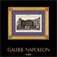 Vista di Parigi - Fonte - Sorgente - Fontaine de la Rue de Grenelle Saint Germain | Incisione su rame originale disegnata da Christophe Civeton, Couché fils direxit. 1825