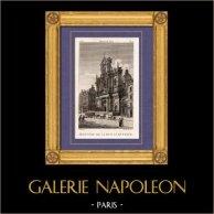Vue de Paris - Jésuites de la Rue Saint Antoine | Gravure sur cuivre originale dessinée par Christophe Civeton, Couché fils direxit. 1825