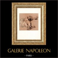 Baccante che Tende il suo Vetro (Antoine Watteau) | Incisione heliogravure originale su carta velina secondo Antoine Watteau. Anonima. 1950