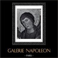 Angelo - Vergine Maria - Madonna - Maestà (Cimabue - Cenni di Pepo) | Incisione heliogravure originale secondo Cimabue. 1946