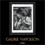 Angel - Passion of Jesus Christ - Angel Offering the Nails (Sandro Botticelli) | Original heliogravure after Sandro Botticelli. 1946