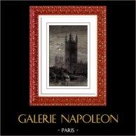 Veduta di Londra - Inghilterra - Palazzo di Westminster - Victoria Tower (Regno Unito) | Incisione xilografica originale. Anonima. 1892