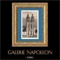 Duomo - Cattedrale di Tours (Indre et Loire - Francia)   | Incisione su acciaio originale disegnata da Gaucherel, incisa da Lemaitre. 1845