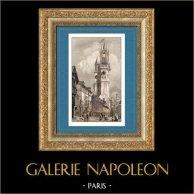 Monument Historique - Tour de l'Horloge à Evreux (France) | Gravure sur acier originale dessinée par Gaucherel, gravée par Lemaitre. 1845