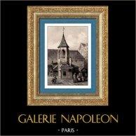 Histoire et Monuments de Paris - Pilori des Halles (démoli en 1789)   Gravure sur acier originale dessinée par Gaucherel, gravée par Lemaitre. 1845