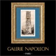 Monuments Historiques de Paris - Tour Saint-Jacques | Gravure sur acier originale dessinée par Gaucherel, gravée par Lemaitre. 1845
