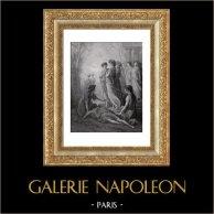 Fables de La Fontaine - Daphnis et Alcimadure (Gustave Doré) | Gravure sur bois originale dessinée par Gustave Doré, gravée par Pannemaker - Doms. 1868