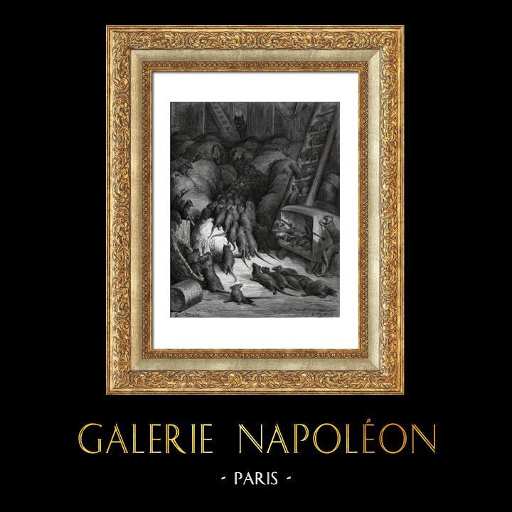 Gravures Anciennes & Dessins | Fables de La Fontaine - La Ligue des Rats (Gustave Doré) | Gravure sur bois | 1868