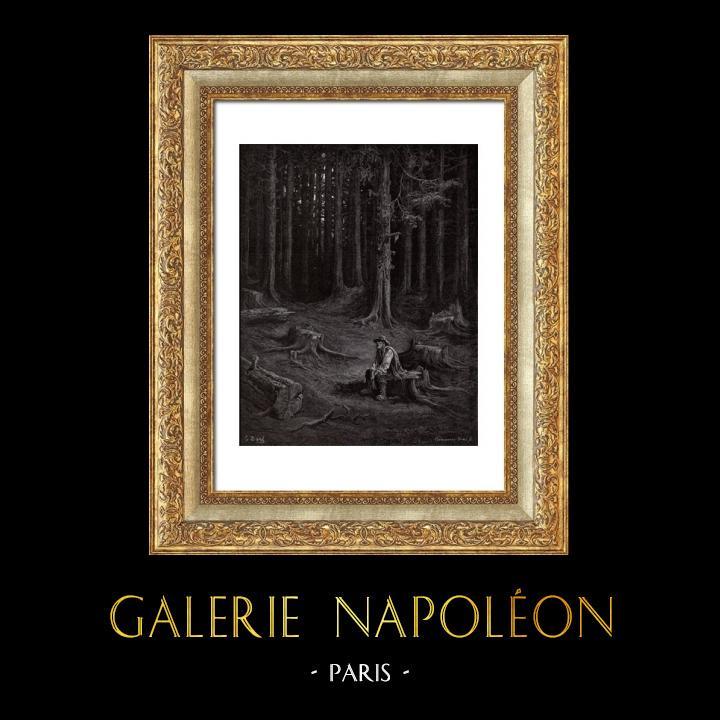 Gravures Anciennes & Dessins | Fables de La Fontaine - La Fôret et le Bucheron (Gustave Doré) | Gravure sur bois | 1868
