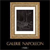 Fabler av La Fontaine - Skogen och Skogsarbetaren (Gustave Doré) | Original trästick efter teckningar av Gustave Doré, graverade av Pannemaker - Doms. 1868