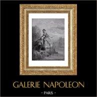Favole di La Fontaine - I Pesci e il Pastore (Gustave Doré) | Incisione xilografica originale disegnata da Gustave Doré, incisa da Pannemaker - Doms. 1868
