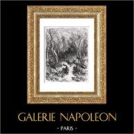 Favole di La Fontaine - Il Gatto e la Volpe (Gustave Doré) | Incisione xilografica originale disegnata da Gustave Doré, incisa da Rouget. 1868