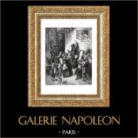 Fables de La Fontaine - Le Fou qui Vend la Sagesse (Gustave Doré) | Gravure sur bois originale dessinée par Gustave Doré, gravée par J. Gauchard. 1868