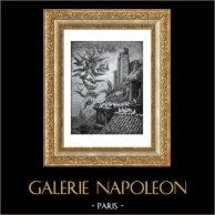 Fables de La Fontaine - Les Vautours et les Pigeons (Gustave Doré) | Gravure sur bois originale dessinée par Gustave Doré, gravée par Pannemaker. 1868