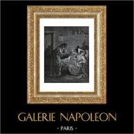 Fables de La Fontaine - La Vieille et les Deux Servantes (Gustave Doré) | Gravure sur bois originale dessinée par Gustave Doré, gravée par A. Ligny. 1868