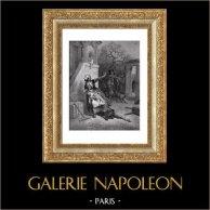 Favole di La Fontaine - Il Lupo, la Madre ed il Bambino (Gustave Doré) | Incisione xilografica originale disegnata da Gustave Doré, incisa da Piaud. 1868