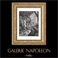 Favole di La Fontaine - Il Gatto ed il Vecchio Topo (Gustave Doré) | Incisione xilografica originale disegnata da Gustave Doré, incisa da Dumont. 1868