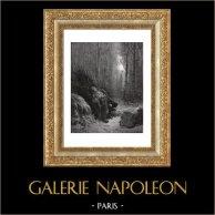 Fabler av La Fontaine - Död och skogsarbetaren (Gustave Doré) | Original trästick efter teckningar av Gustave Doré, graverade av Jonnard. 1868