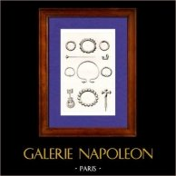 Gaule - Objets Antiques - Bijoux Anciens | Gravure sur acier originale dessinée par Muret, gravée par Lemaitre. 1845