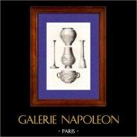 Gaule - Vases - Poterie - France | Gravure sur acier originale dessinée par Muret, gravée par Lemaitre. 1845