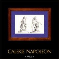 Gaule - Sculpture de Groupe - Gaulois tuant sa Femme - Villa Ludovisi à Rome | Gravure sur acier originale dessinée par Vernier, gravée par Branche. 1845