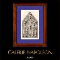 Reliquiario - Cattedrale di Chartres - XII Secolo | Incisione su acciaio originale disegnata da Gaucherel, incisa da Lemaitre. 1845