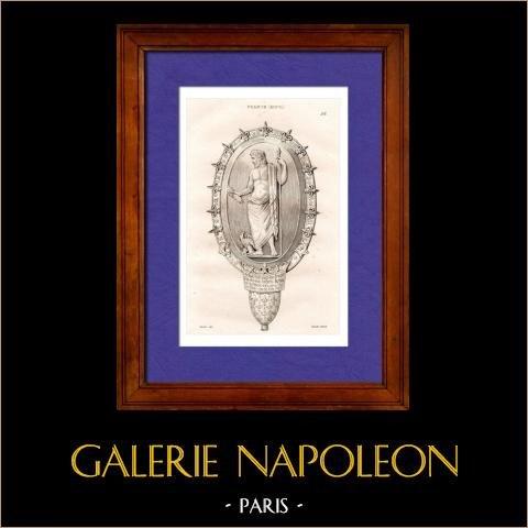 Objectos Antigos - Pedra - Carlos V de França - Catedral de Chartres - França | Gravura em metal aço original desenhada por Vernier, gravada por Lemaitre. 1845