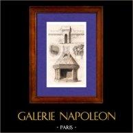 Architettura in Francia - XIV Secolo - Capitello - Colonna - Pilastro - Focolare | Incisione su acciaio originale disegnata da E. Breton, incisa da Lemaitre. 1845