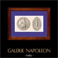 Sceaux de - Philippe III de France - Philippe le Hardi - - Marie de Brabant - XIIIème Siècle - France   Gravure sur acier originale dessinée par Muret, gravée par Lemaitre. 1845
