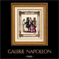 Modes et Costumes Français - 17ème Siècle - XVIIème Siècle - Religieuse de Port Royal des Champs - Noblesse | Gravure sur acier originale. Anonyme. 1855
